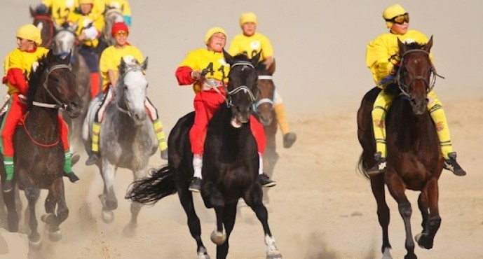 Қазақ хандығының 550 жылдығына арналған бәйгеде Әлинұр Назарбаевтың жүйрік аты топ жарды (фото)