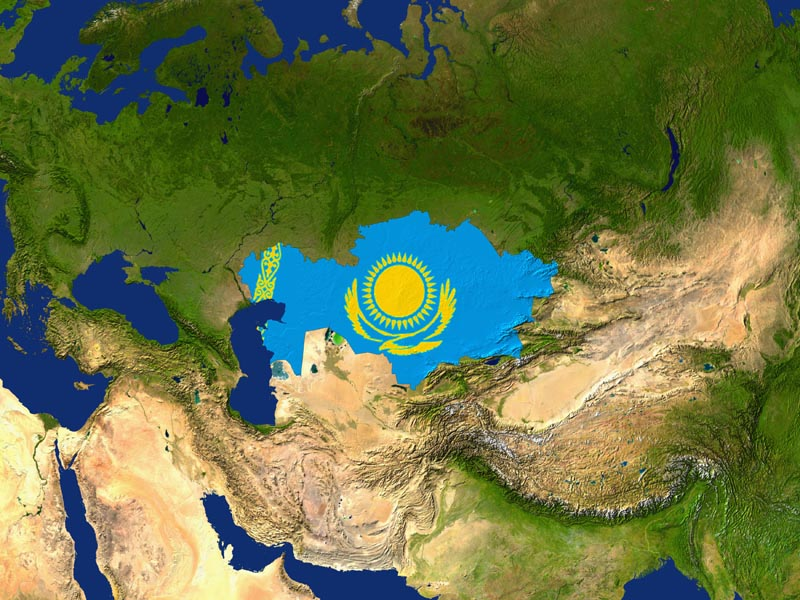 Satellite image of Kazakhstan with the country's flag covering it